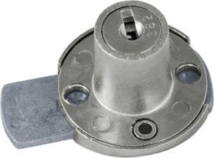 Serratura da applicare a cilindro per anta o cassetto - paletto passante – interasse 30 - SPAL04236