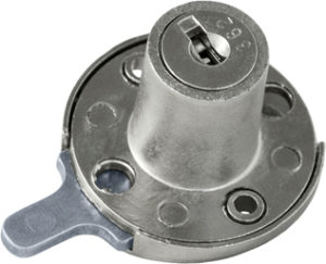 Serratura da applicare a cilindro per anta o cassetto - paletto ridotto, interasse 30 - SPAL04237