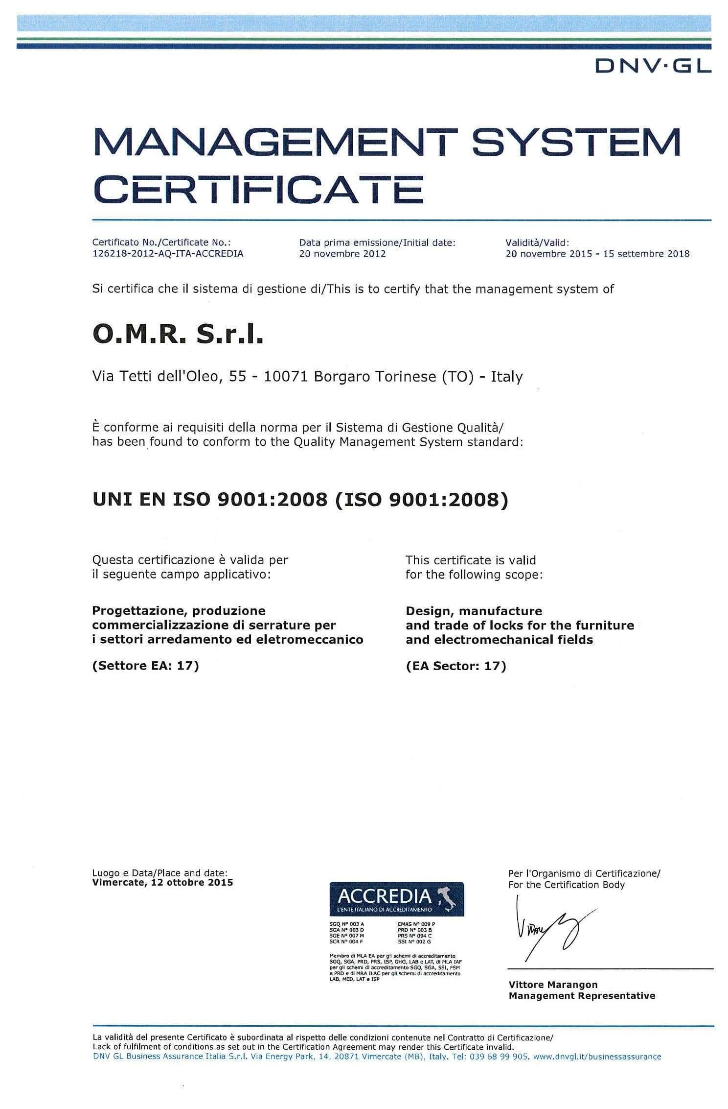Certificazione ISO 9001 OMR Serrature